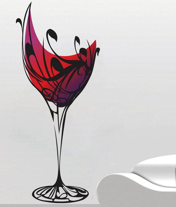 Creative Width Wine Glass Wall Decal