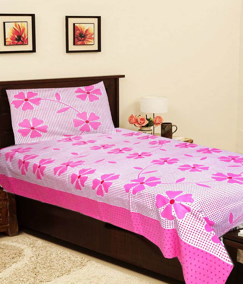 Homefab India Premium Pink Cotton Single Bed Sheet Buy