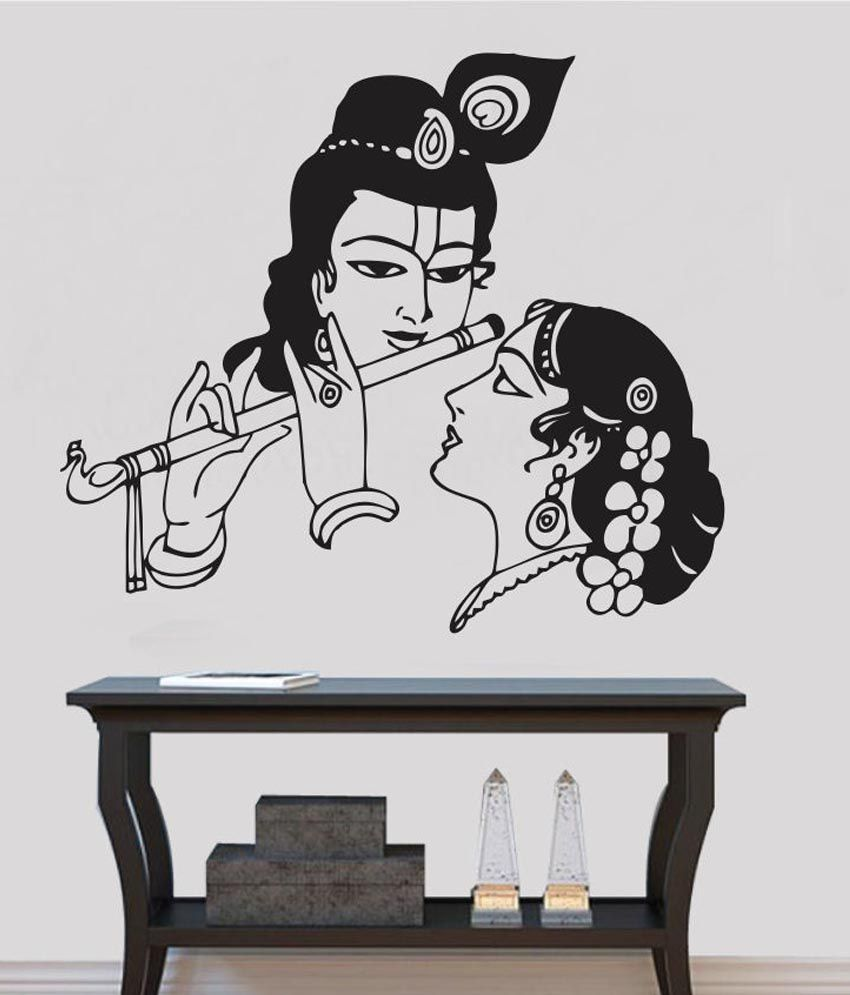 Impression wall textured pvc radha krishna wall sticker