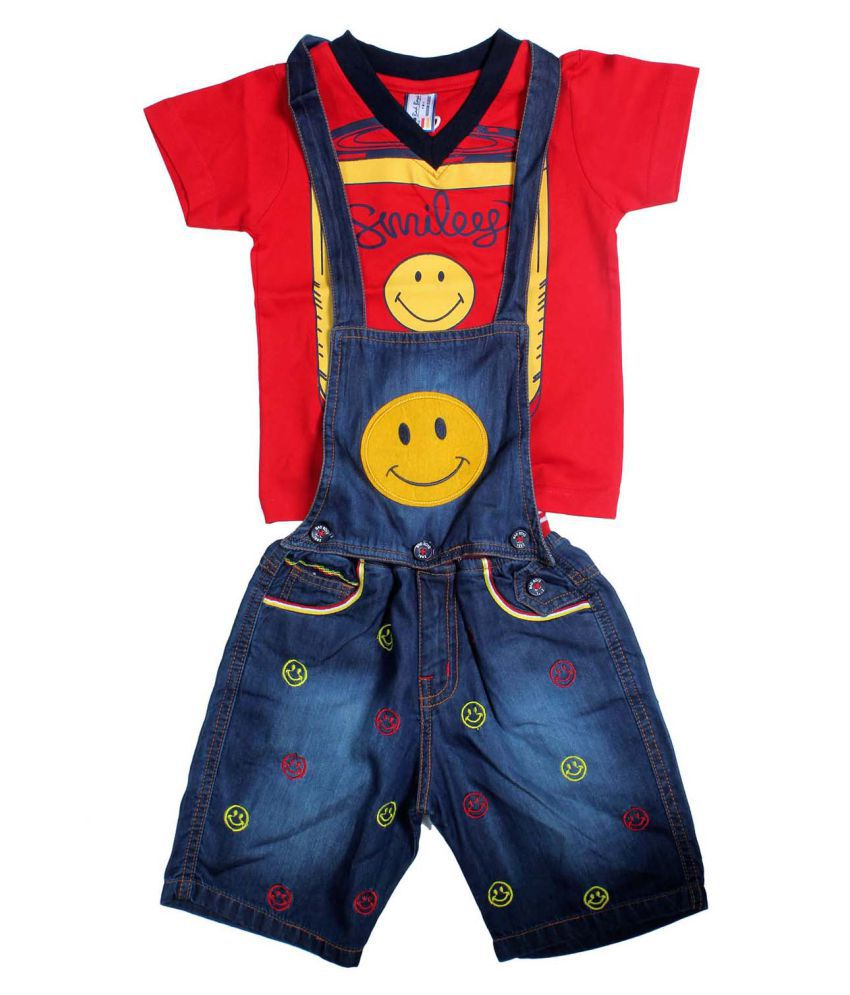 Bad Set For Baby Bad Boys Multicolour Denim Baby Dungaree Set