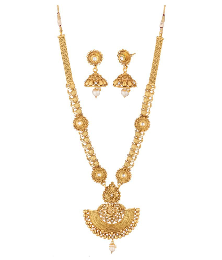 Mala Design Apara South Indian Gold Plated Mango Design Long Haram Mala Necklace With Kundan And American Diamond For Women