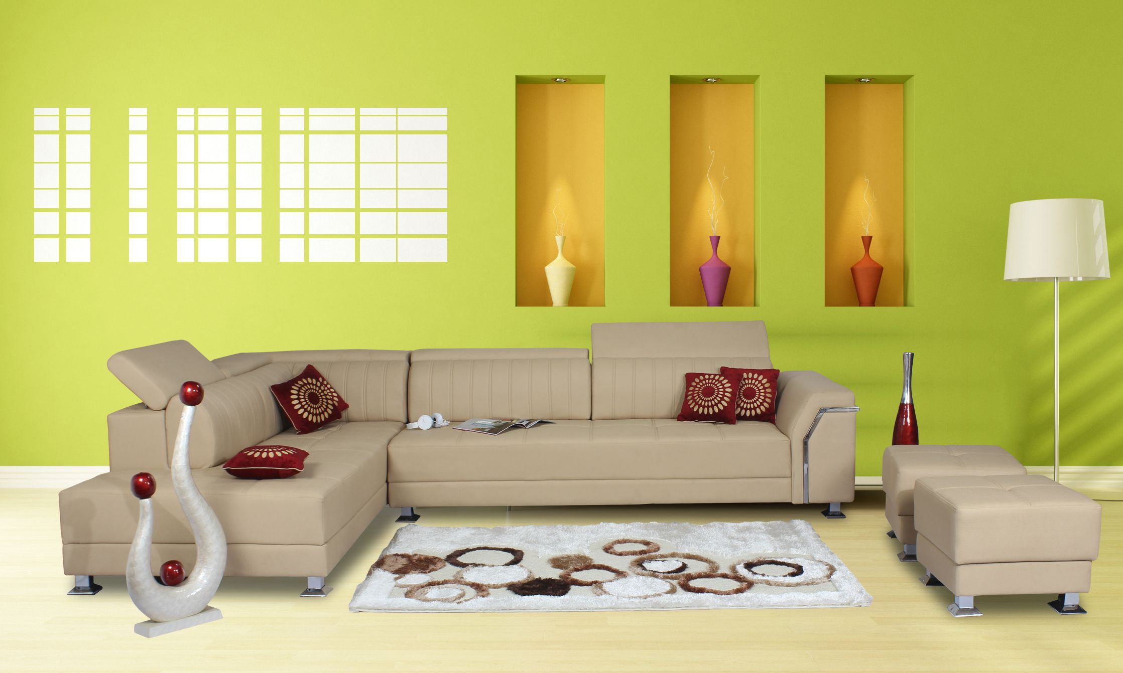 Yellow Sofa Online India Home City L Shaped Sofa With Puffies