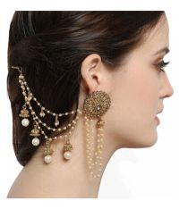 Aadita Bahubali Design Heavy Earrings with Hair Chain for ...