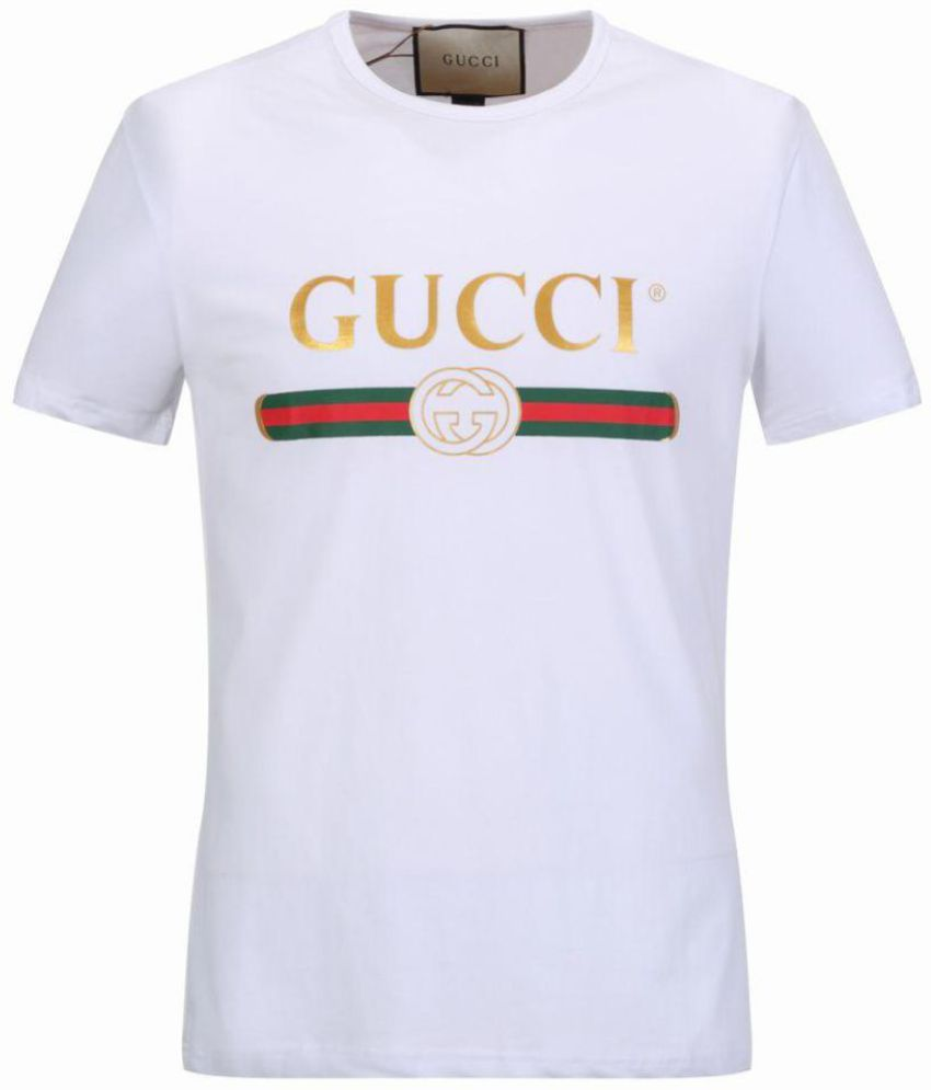 T Short Gucci White Half Sleeve T Shirt