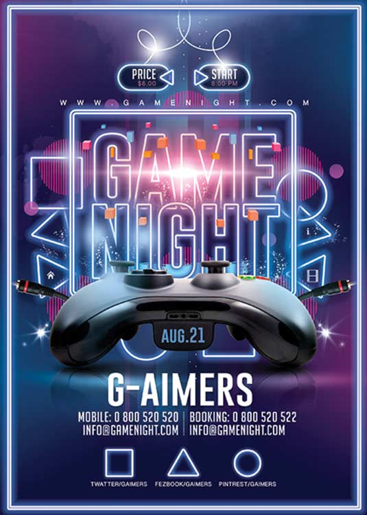 N2N44 Graphic Design Game Night Gaming Flyer Template - N2N44