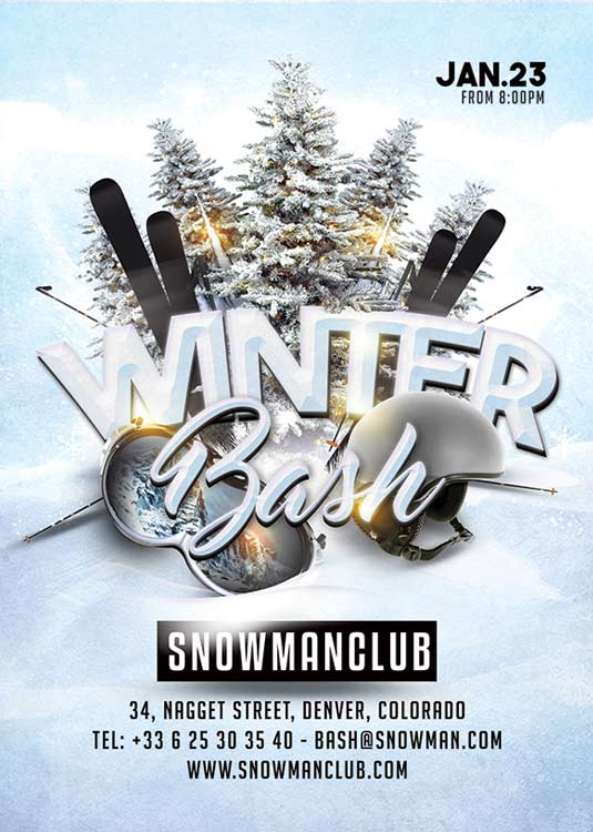 N2N44 Graphic Design Winter Bash Club Flyer Template - N2N44