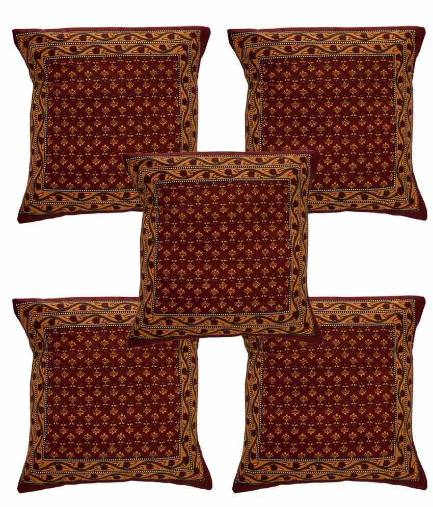 Ecraftindia Brown And Red Cotton Cushion Covers Set Of 5
