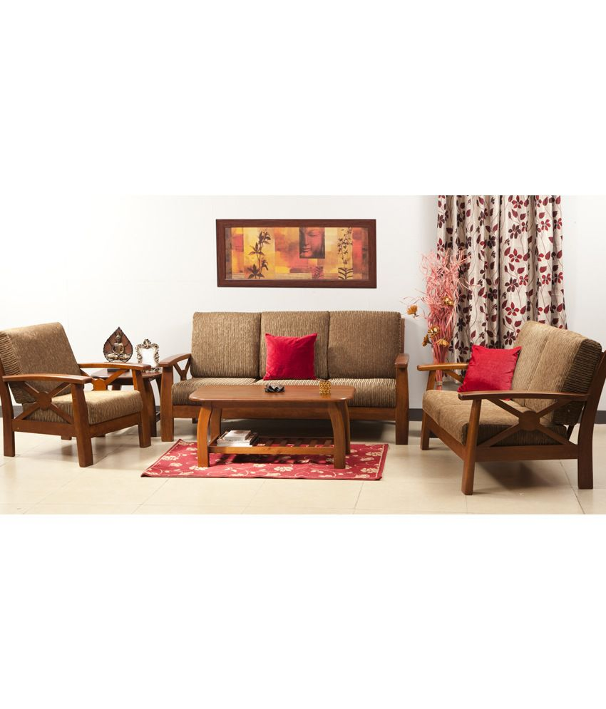 Hometown Winston Solidwood 3 2 1 Sofa Set With Centre And