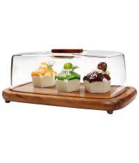 Billi thailand rubberwood rectangular cheese/cake dome ...