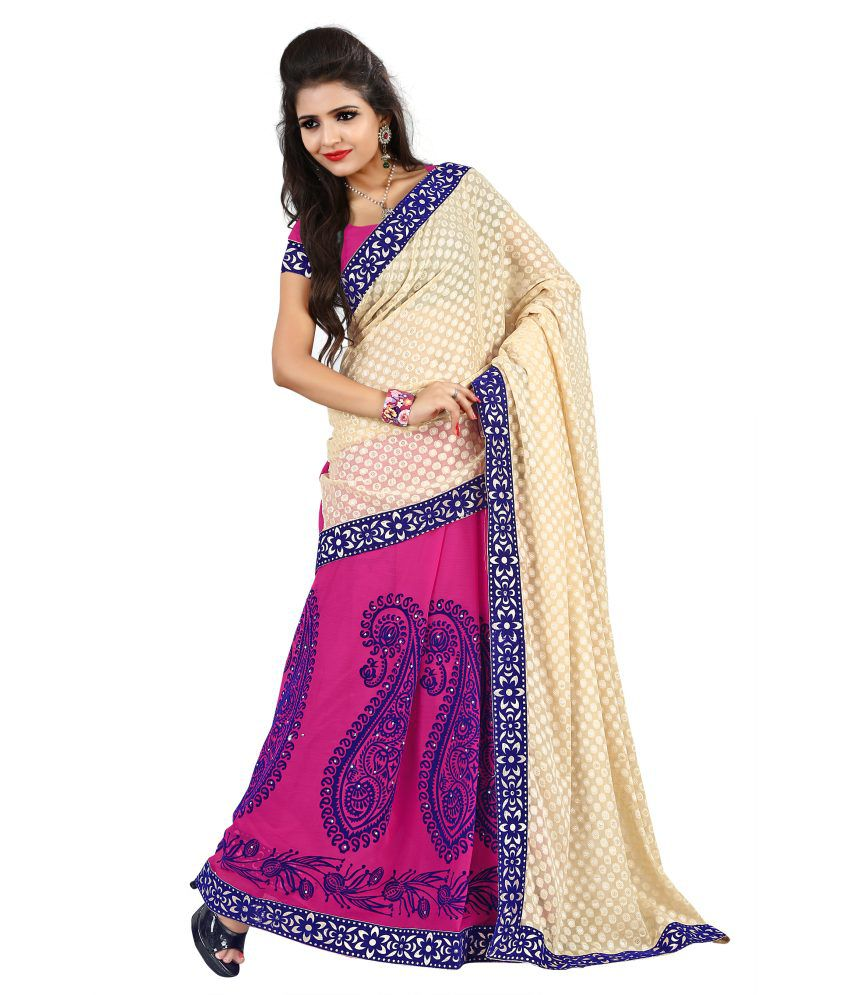 Piece Unik Unik Fashion Faux Chiffon Embroidered Saree With Blouse Piece