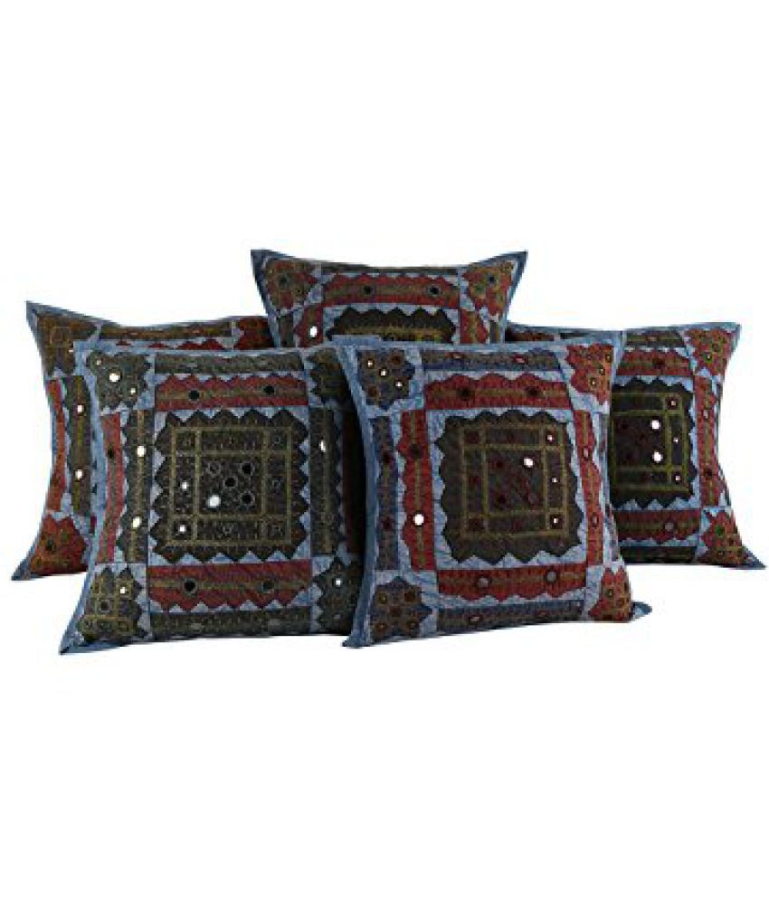 Designer Cotton Cushion Covers Blue Ethnic Indian Style Throw Pillows 17x17 Pillow Covers Patchwork Mirror Work By Rajrang Buy Online At Best Price Snapdeal