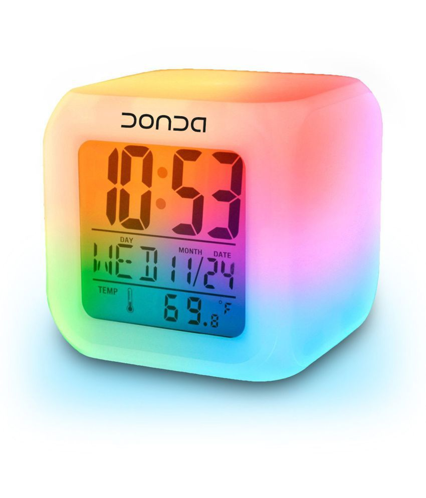 Digital Clock Donda Digital 7 Color Changing Alarm Clock Table Watch Pack Of 1