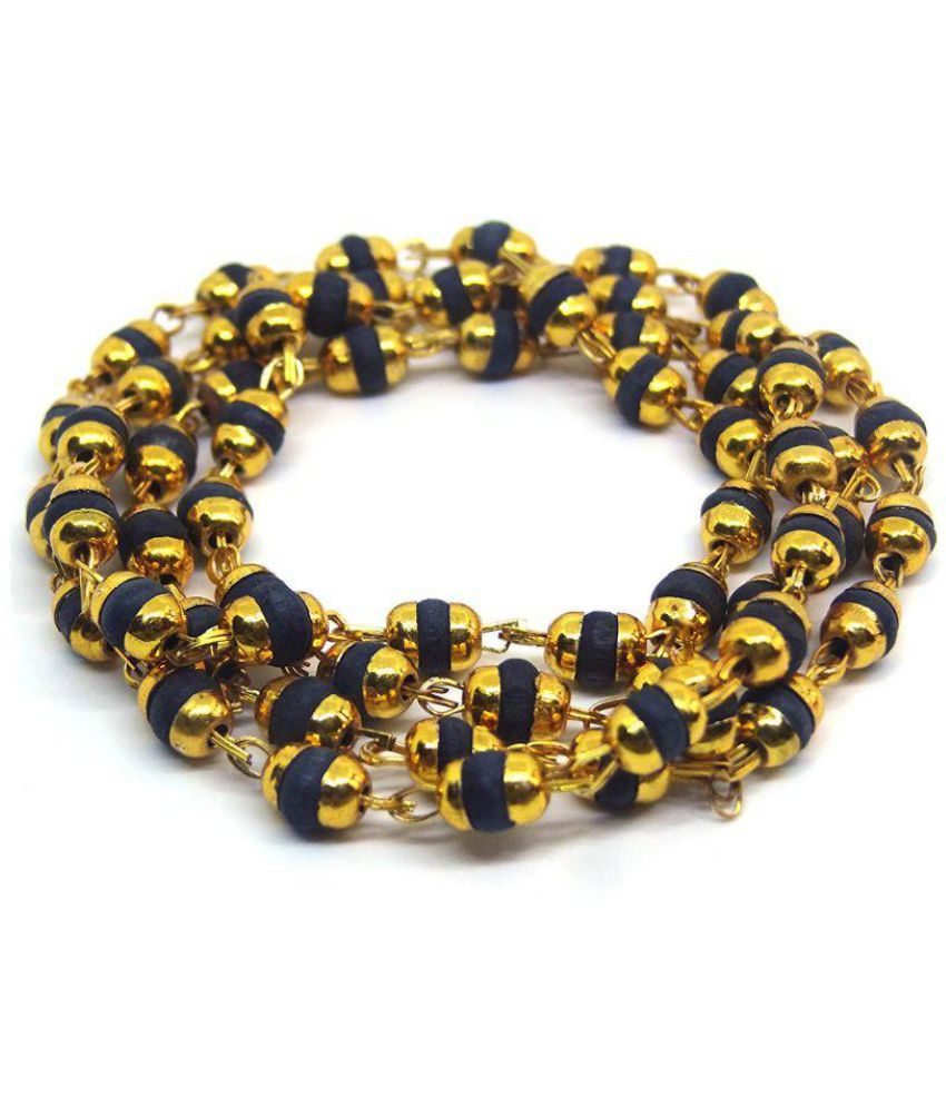 Mala Design Only 4 You 100 Original Black Tulsi Beads Mala In Brass Made Golden Self Design Caps