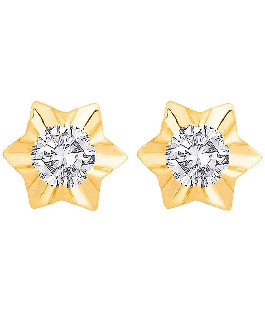 Voylla 18k Hallmarked Gold Start Shaped Stud Earrings: Buy