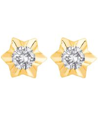 Voylla 18k Hallmarked Gold Start Shaped Stud Earrings: Buy