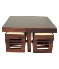 WoodFaber 4 Seater Coffee Table Stool Set - Buy WoodFaber ...