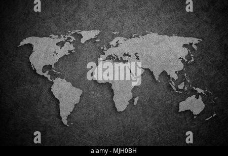 Blank Grey World map isolated on white background infographics