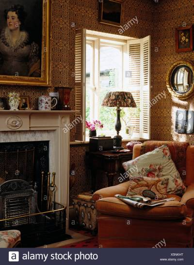Interiors Living Room Picture Fireplace Stock Photos & Interiors Living Room Picture Fireplace ...