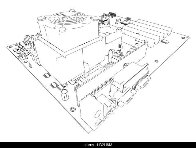 macro of printed circuit board computer motherboard stock photo