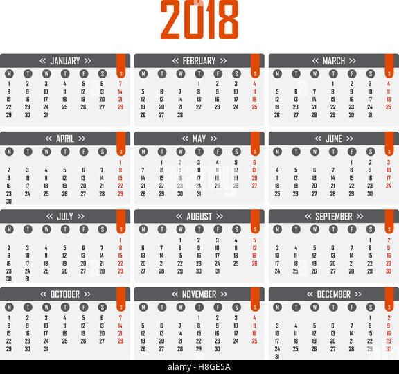 Every Year Calendar Starting Common Year Starting On Friday Wikipedia 2018 Calendar Stock Photos And 2018 Calendar Stock Images