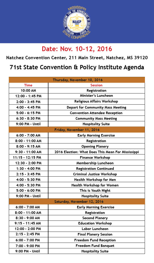 Agenda at a Glance \u2013 MS NAACP Annual State Convention and Policy