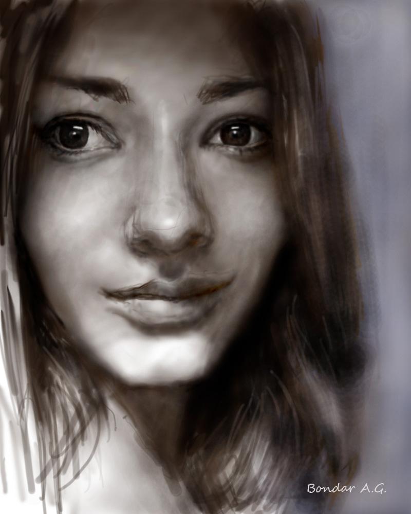 Автопортрет, графический планшет, Автор - Бондарь Анастасия