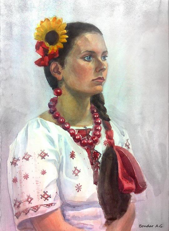 Натурщица, акварель, Автор - Бондарь Анастасия