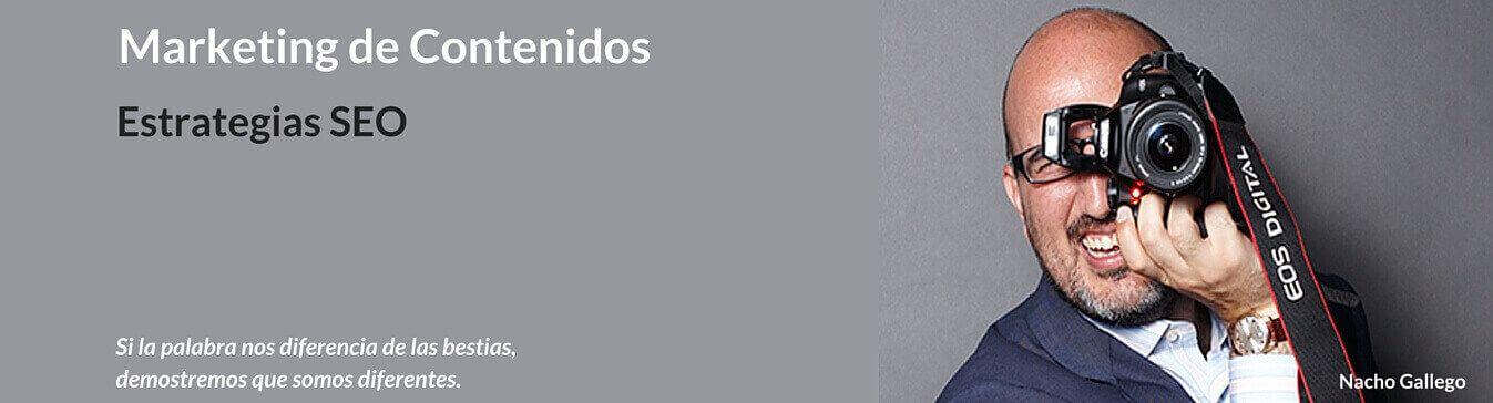 Portada Foto Nacho Gallego Marketing de Contenidos. Estrategias SEO. Optimizada