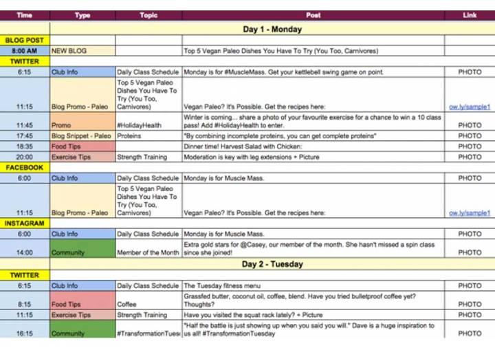 Ejemplo calendario editorial Redes Sociales