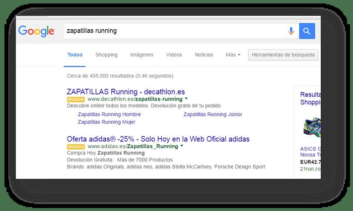 busqueda en google de zapatillas running