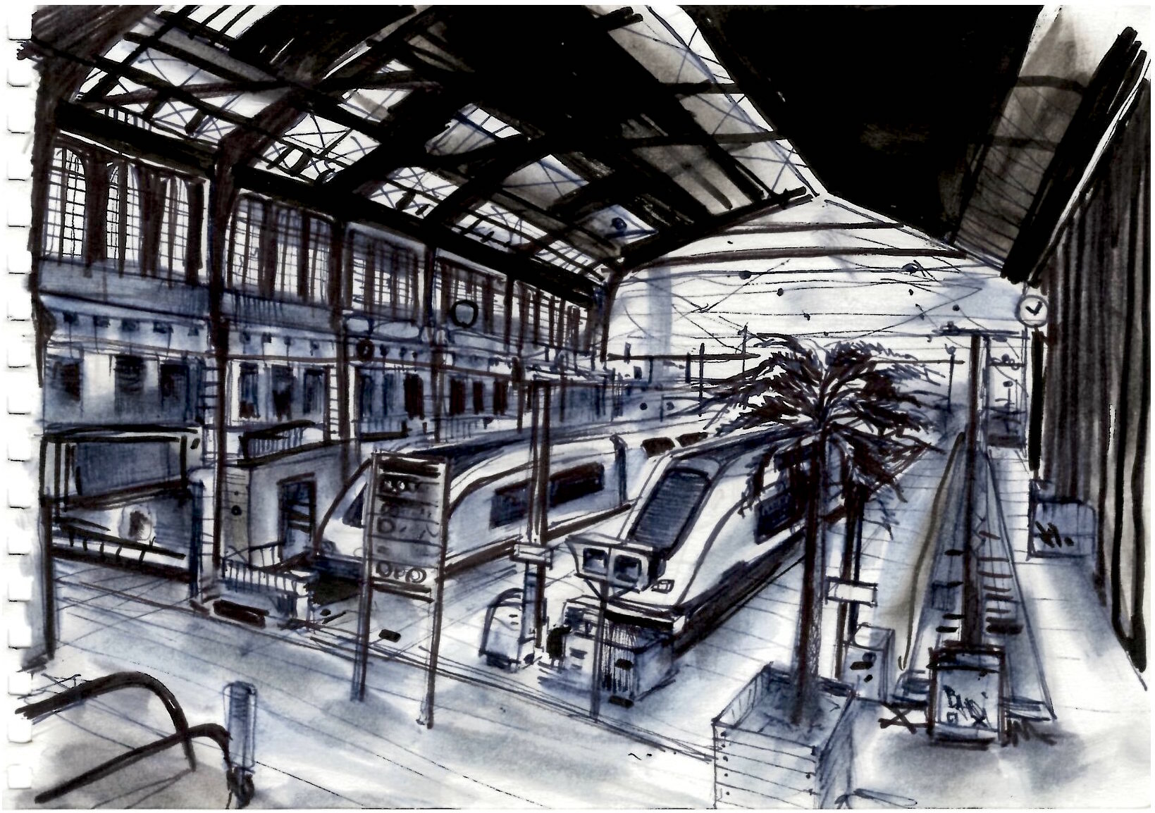 Gare De Paris Drawing Of Paris Gare De Lyon Illustration Nadib Bandi Drawing