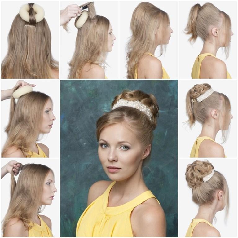 Высокая прическа для средних волос как сделать