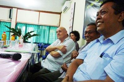 Program Mentor Georges Capt & Officials at a SMKN3 Presentation