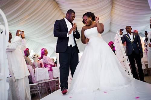 happy bride in a-line wedding gown