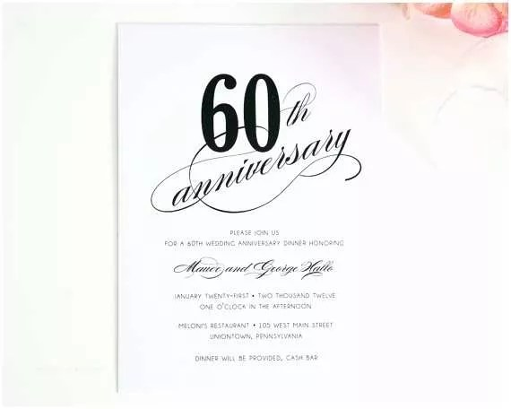 60th Wedding Anniversary Invitations Free Templates 60th Birthday