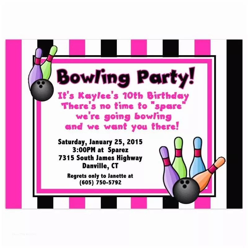 Bowling Birthday Party Invitations 7 Best Of Bowling Party
