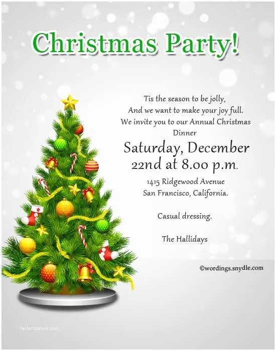 Holiday Party Invitation Wording Christmas Party Invitation Wordings