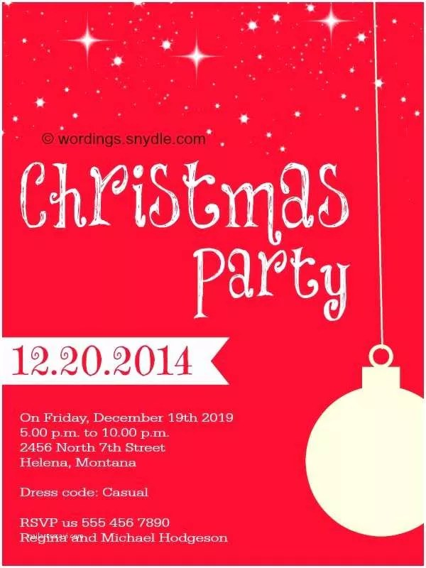 Holiday Party Invitation Wording Examples Kids Christmas Party