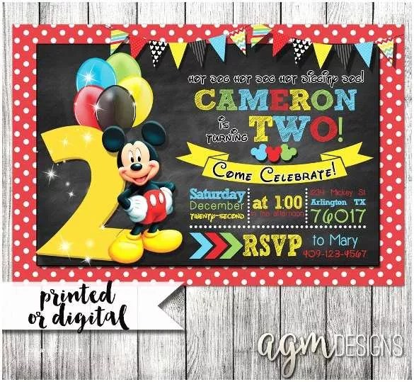 Mickey Mouse Birthday Invitation Mickey Mouse 1st Birthday