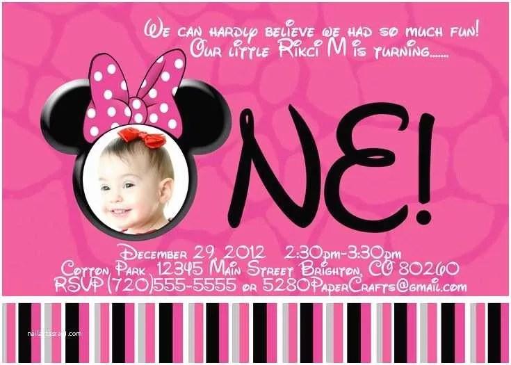 Minnie Mouse 1st Birthday Invitations Minnie Mouse Birthday