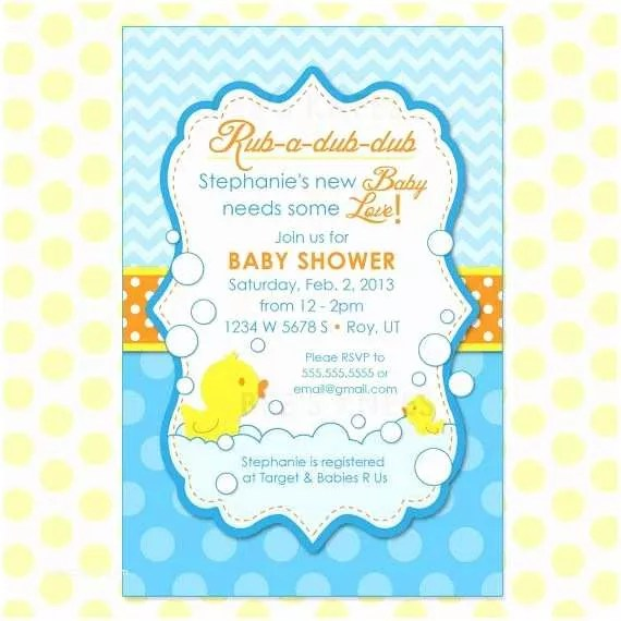 Rubber Ducky Baby Shower Invitations Personalized Rubber Duck