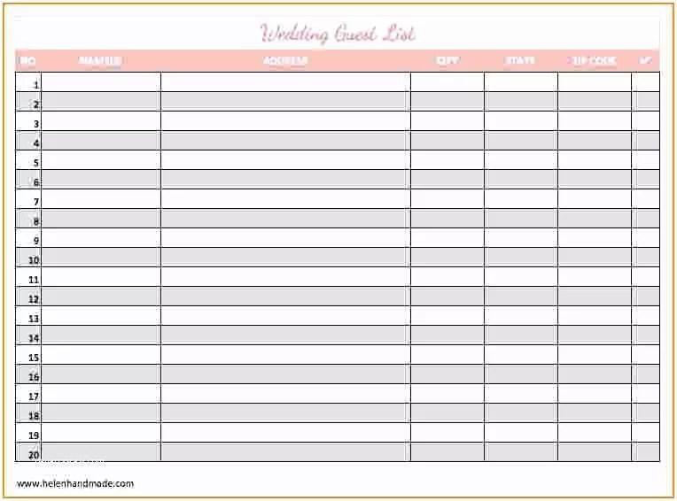 Wedding Invite List Template Guest List Template Beepmunk
