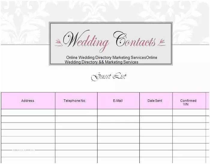 Wedding Invite List Template 4 Printable Wedding Guest List