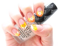 Orange Flower French Nails | nailbees