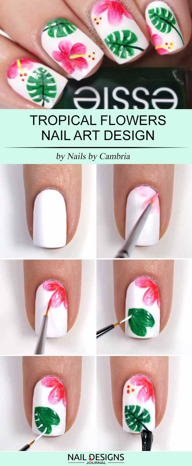 15 super easy nail designs diy tutorials crazyforus tropical flowers nail art prinsesfo Gallery