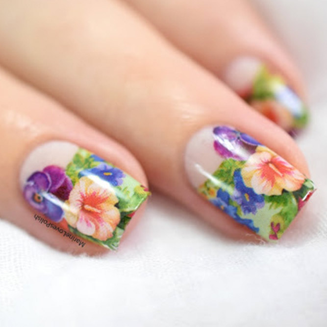 Floral Nail Designs With Water Decals and Stickers
