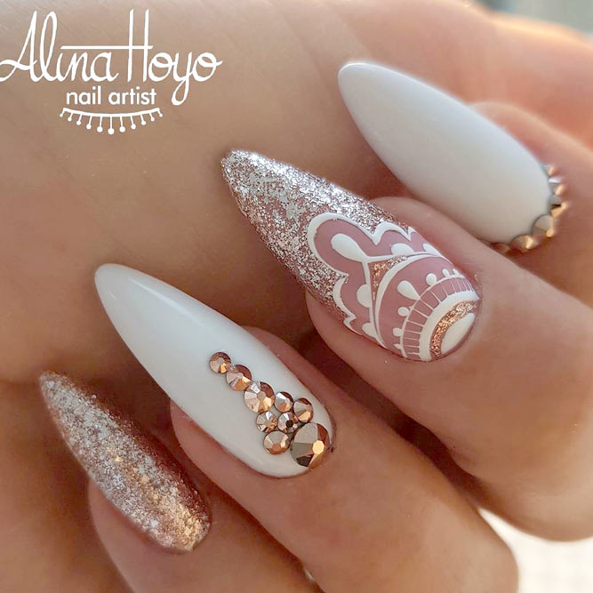 Gold White And Mandala Accent Perfect Nail Design For Bride