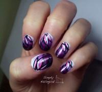 Looping effect purple lotus flowers nail art by ...