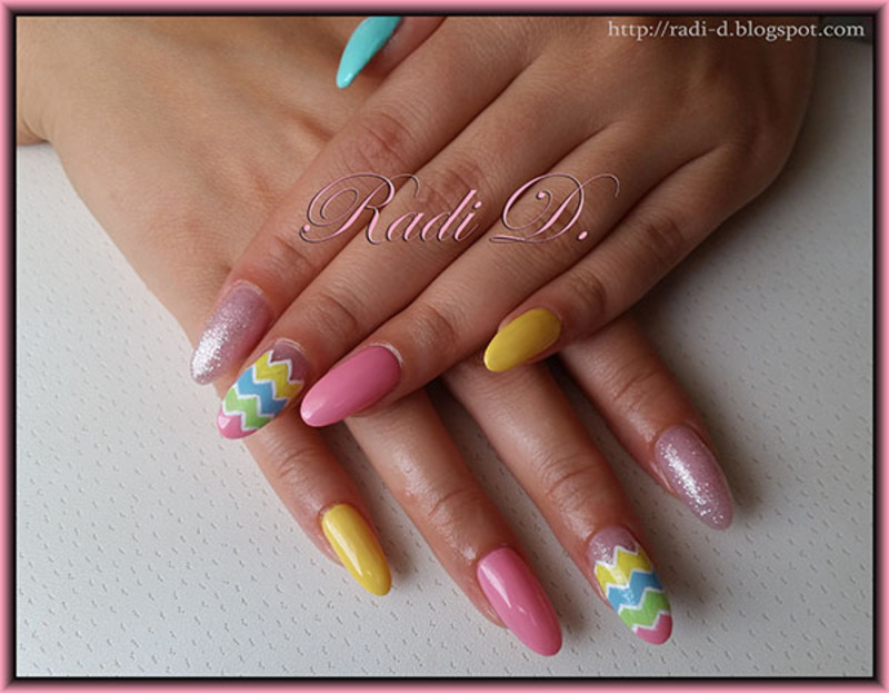 Long Almond Nails In Pastel Colors Nail Art By Radi
