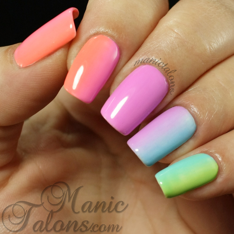Simple Rainbow Gradient With Gel Polish Nail Art By